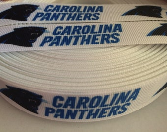 "Carolina Panthers 7/8"" Grosgrain Ribbon - 5 Yards, NFL Football"
