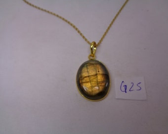 Christmas Sale,   Natural Labradorite Pendant with Chain, 25.1 ct. Oval Shaped Necklace