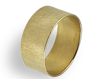 Wide Wedding Band , Gold Wedding Ring , For Women, Yellow Gold ,Texture Ring , Brushed Finish , Unique Wedding Ring