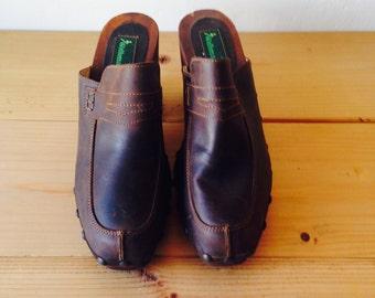 woodstock mules/dead stock shoes/70s boho/leather mules/festival hippie boho shoes/grunge shoes/boho mules/brown shoes/eu 38/us 7.5