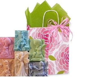 Basket ANGEL Soap GIFT SET Godparent,Baptism,Confirmation,Communion, Birthday, Get Well Gift.5 Soaps 100% Natural Your Color & Scent!