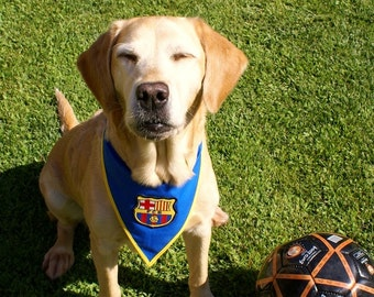 FC Barcelona bandana pets cotton 100%, handmade accessories pets, sport Barça bandana Febress Pets