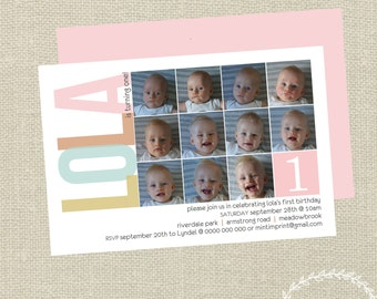 Girls First Birthday Invitation with photos / Photo Invitation / Printable Invitation / Monthly Photo Invitation / Girls Invitation