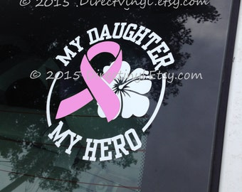 YOU CHOOSE TEXT Pink Breast Cancer Awareness Ribbon Hero/Flower Decal