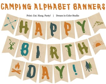 Great Outdoors Camping Alphabet Banner Printable - Nature, Forest, Woods, Hiking, Summer Camp