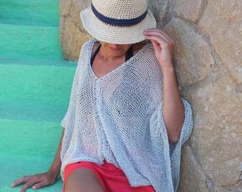 Gray poncho cotton cropped sweater summer cotton beach boho