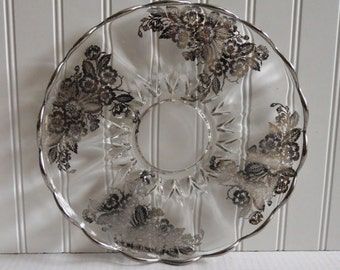 Vintage Silver City Blossom Time Glass Serving Plate