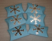 Snowflake Pillow Favor Box, Gift Card, Candy Holder for Christmas, Weddings, Frozen Birthday Parties