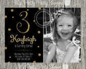 Black & Gold Glitter Birthday Party Picture / Photo Invite / Invitation