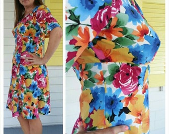 Pinup Look vtg 60s Mad Men Joan hand made short sleeve dress mod flower child / best fits woman 6-10 or M