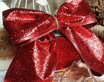 Luxury Wired Red glitter Christmas Ribbon,very glittery,Tree or cake decorating, Gift wrapping, Flower bouquet, Floral