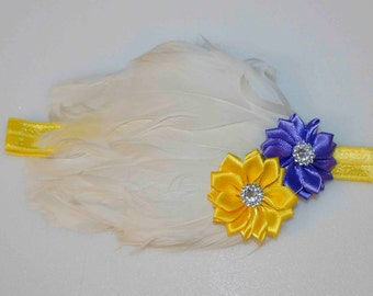 Feather Pad Headband - white yellow and royal blue