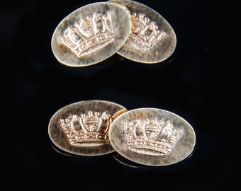 sterling gilt crown decorated cufflinks