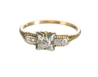 14k white and yellow gold .25 carat diamond ring circa 1950 size 8