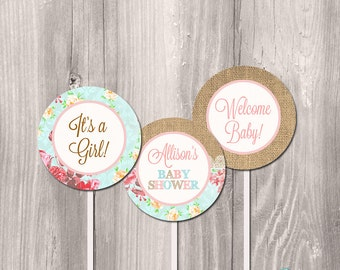 Baby shower cupcake toppers, printable cupcake toppers, baby shower toppers, shabby chic cupcake toppers, DIY cupcake toppers