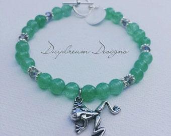 Green Aventurine Frog Charm Bracelet