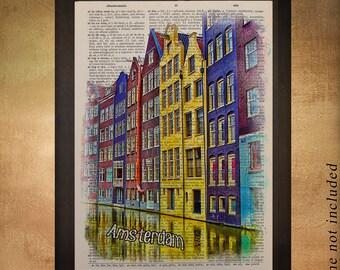 Amsterdam Houses Dictionary Art Print Dutch Netherlands Architecture Canal Gift Ideas Wall Art Home Decor da878