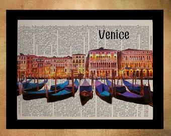 Blue and orange Venice print, Italy art, Venice Wall Decor, Gondola Wall Hanging, Dictionary Art Print da899