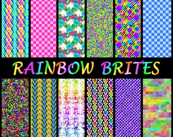 Rainbow Digital Paper Set - Printable Papers in Bright Rainbows - Instant Download For Digi Backgrounds, Crafts, etc.- Ok for Commercial Use