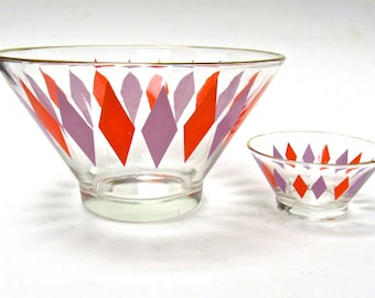 Mid Century Atomic  Harlequin Chip and Dip Bowls