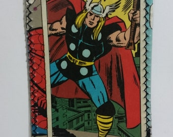 Thor hammer - Recycled Comic book wallet, slim wallet, hanmade wallet, card holder, thin wallet, vinyl wallet, mens wallet