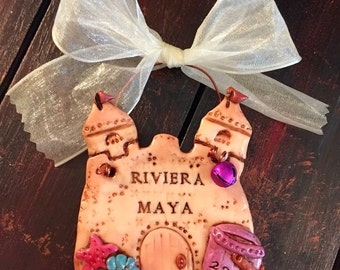 Keepsake Vacation Sand Castle Polymer Clay Personalized Ornament