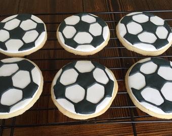 Soccer Ball sugar cookies; 1 dozen large cookies
