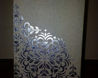 "Mini 4"" x 6"" Spiral Note Pad Notebook Silver Foil, Glitter Flowers Pattern Card Stock"