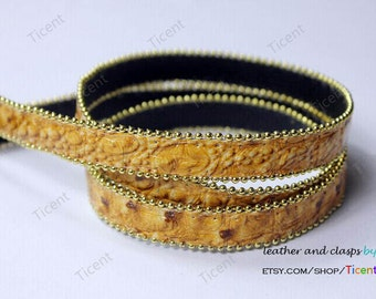 CLEARANCE SALE 14x2mm Beige PU Leather Strap with Gold Chains 2 Yards PL14M12
