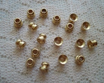 50 Tiny Golden BRASS Caps 4x4mm. Pure Golden BRASS. Permanent Color! Tiny Brass Bead Cap or Cord End Cap.  ~USPS Ship Rates from Oregon
