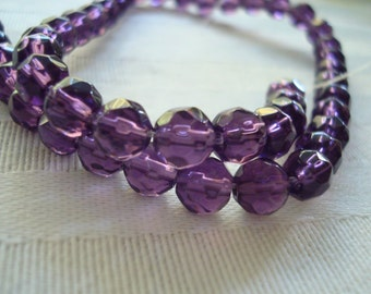 Deep Lavender Purple, Tanzanite Purple Smooth Faceted Rounds. Sizes 6, 8, & 10mm  Full Strand.  USPS Ship Rates ~from Oregon