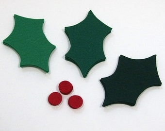 Felt Holly Leaves - Die Cut Shapes, 18 pieces - DIY Holiday Crafts