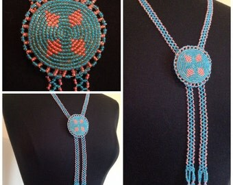 Vintage handmade native beaded pink and blue bolo neck piece adjustable