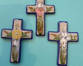 Vintage Ceramic Cross Collection of Three Folk Art Wall Hanging Flower and Dove Design Made in Mexico