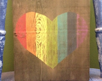 Gorgeous Rustic Rainbow Heart Wood Sign