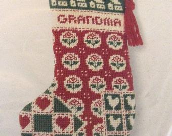 """Vintage 1983 Sunset Needlepoint 5092 Christmas Stocking Kit 8 1/4"""""""
