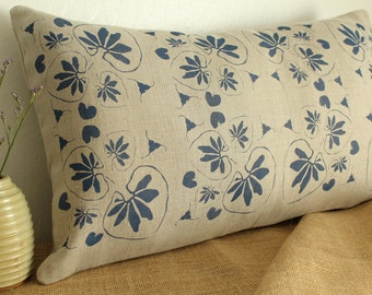 Pillow cover, 16x26 inches, undyed linen, hand painted with dark blue fabric ink, lined with undyed linen,undyed cushion cover