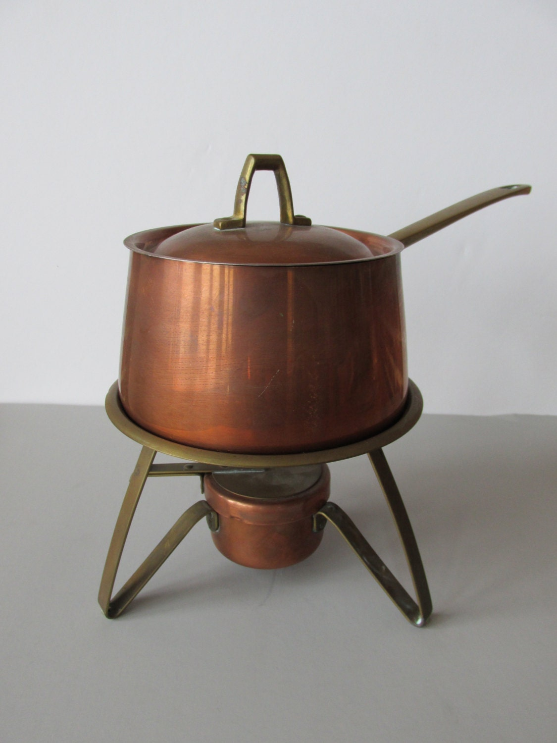 Vintage Paul Revere Copper Saucepan With Stand Copper Clad