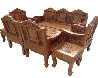 Carved teak wood living room furniture with beautiful elephant details   3  inches of thicknessesCarved teak wood living room furniture with beautiful country. Teak Living Room Furniture. Home Design Ideas