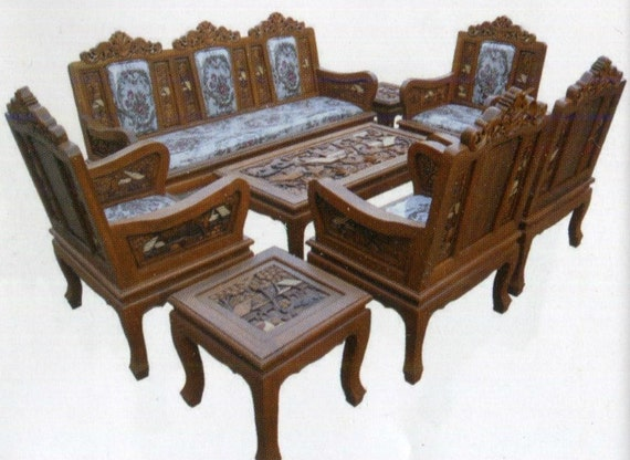 Carved Teak Wood Living Room Furniture With Beautiful Country
