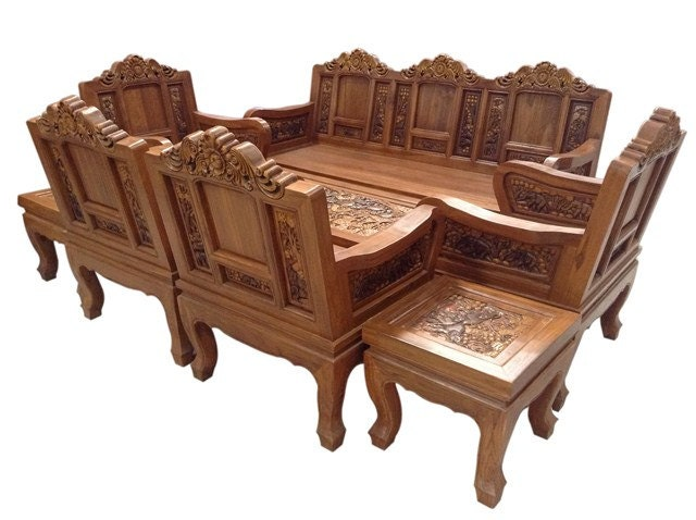 Carved Teak Wood Living Room Furniture With Beautiful Elephant