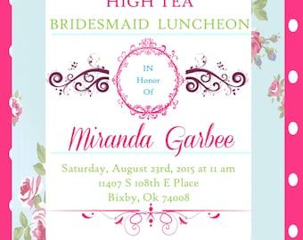 BRIDESMAID Luncheon High Tea Theme Invitation