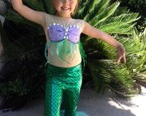 Ariel Little Mermaid Girls Costume Size 2T,3T,4,5,6,7,8,9,10Y