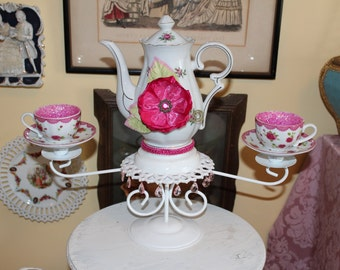 Pink Rose Teapot - Teacup Centerpiece, Wonderland Mad Hatter Tea Party, Victorian Tea Party Decor