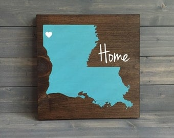 Pick Colors, Louisiana Wood Sign, Lousiana State Sign, Stained Hand Painted, Personalize, Louisiana decor, Louisiana art, state on wood