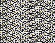 Heart Fabric - Black and Metallic Gold Hearts by Timeless Treasures - 1/2 Yard