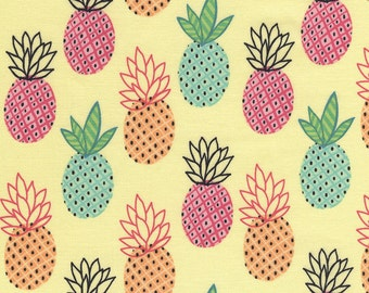 Pineapple Fabric - Pineapples in Yellow by Timeless Treasures - 1/2 Yard