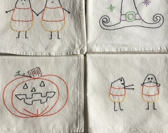 Halloween Hand-embroidered Flour Sack Towels--set of 4