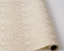 """Paper Table Runner Roll 30"""" by 25' - Metallic Gold Paisley Pattern on Creme"""