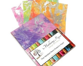 """Marbled Mulberry Momi  Paper in Pastel Colors for Arts, Crafts and Scrapbooking (12 Sheets of 8.5"""" x 11"""" Paper)"""
